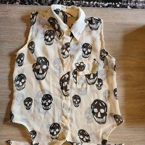 Skull Mesh Tie Top